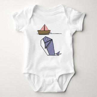 Cute Folder Paper Whale Baby Bodysuit