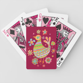Cute Folk Art Bird Playing Cards