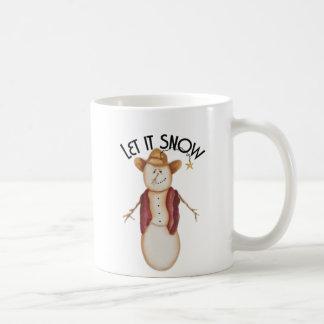 Cute Folk Art Cowboy Snowman Basic White Mug
