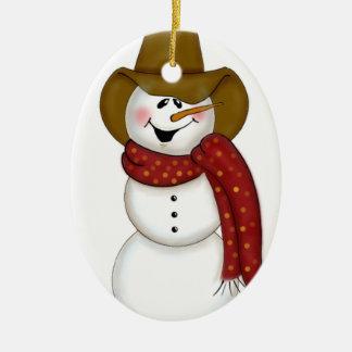 Cute Folk Art Cowboy Snowman Ceramic Ornament