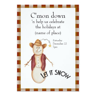 Cute Folk Art Cowboy Snowman Christmas 13 Cm X 18 Cm Invitation Card