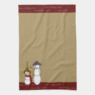 Cute Folk Art Cowboy Snowman Christmas Tea Towel