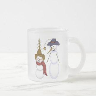 Cute Folk Art Cowboy Snowman Frosted Glass Mug