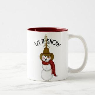 Cute Folk Art Cowboy Snowman Two-Tone Coffee Mug
