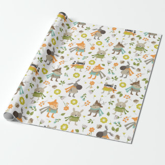 Cute Folksy Woodland Animal Wrapping Paper