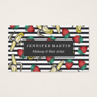 Cute Foodie Fruity Strawberry Bananas and Stripes Business Card