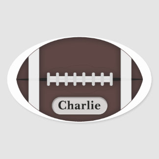 Cute Football with Customizable Name Oval Sticker