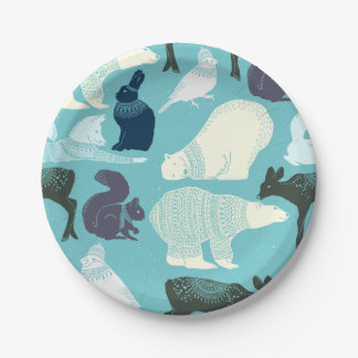 Cute Forest Animals Pattern 7 Inch Paper Plate