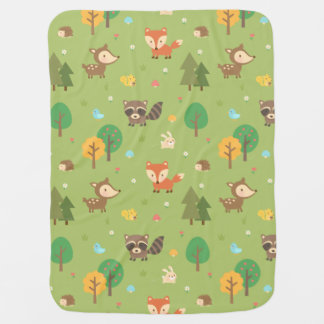 Cute Forest Woodland Animal Pattern For Babies Baby Blanket