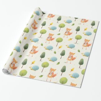 Cute Fox and a snail and trees and leaves kids Wrapping Paper