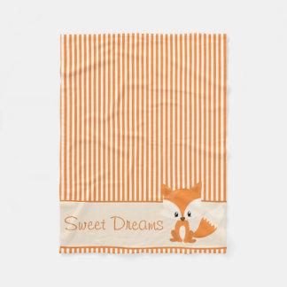Cute Fox and Orange & Tan Stripes | Personalized Fleece Blanket