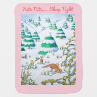 cute fox and rabbits winter snow scene baby blanket