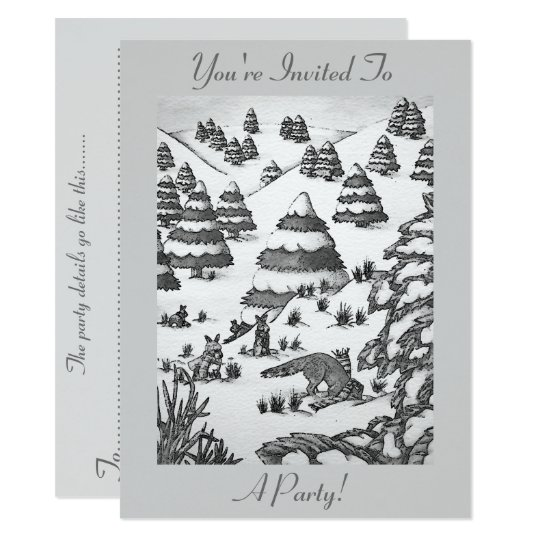 cute fox and rabbits winter snow scene invitation