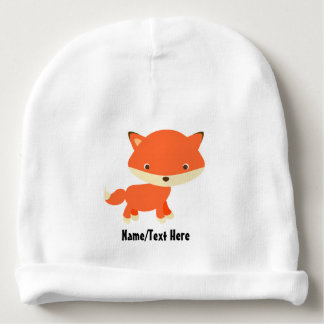 Cute Fox Baby Name Customize Baby Beanie