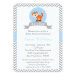 Cute Fox Baby Shower Invitation in Blue and Grey 13 Cm X 18 Cm Invitation Card
