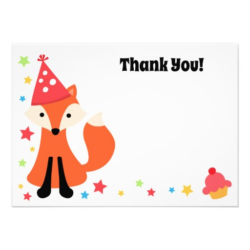 Cute fox birthday party flat thank you note card