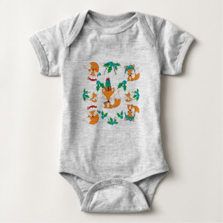 Cute Fox Christmas Theme Pattern Print Baby Bodysuit