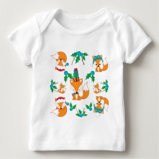 Cute Fox Christmas Theme Pattern Print Baby T-Shirt