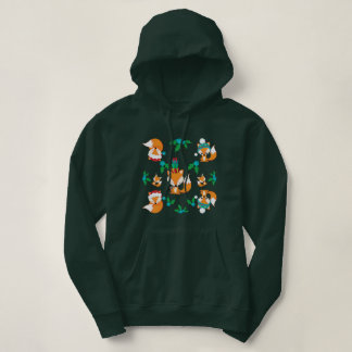 Cute Fox Christmas Theme Pattern Print Hoodie