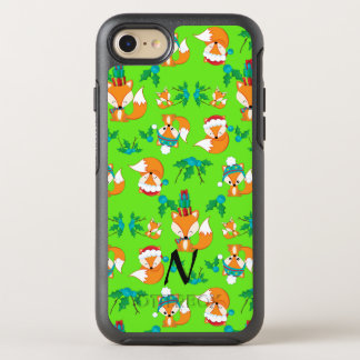 Cute Fox Christmas Theme Pattern Print Monogrammed OtterBox Symmetry iPhone 8/7 Case