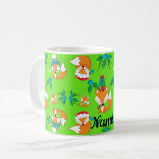 Cute Fox Christmas Theme Pattern Print Personal Coffee Mug