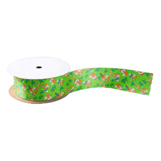 Cute Fox Christmas Theme Pattern Print Satin Ribbon