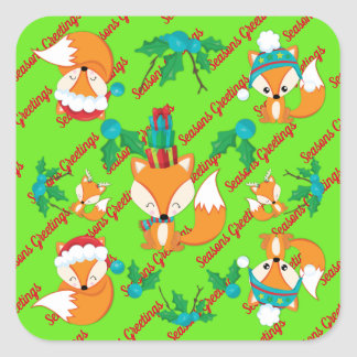 Cute Fox Christmas Theme Pattern Print Square Sticker
