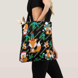 Cute Fox Christmas Theme Pattern Print Tote Bag