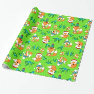Cute Fox Christmas Theme Pattern Print Wrapping Paper
