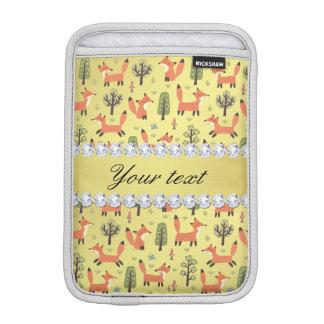 Cute Fox Faux Gold Foil Bling Diamonds iPad Mini Sleeves