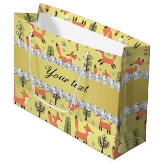 Cute Fox Faux Gold Foil Bling Diamonds Large Gift Bag