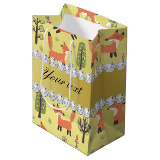 Cute Fox Faux Gold Foil Bling Diamonds Medium Gift Bag