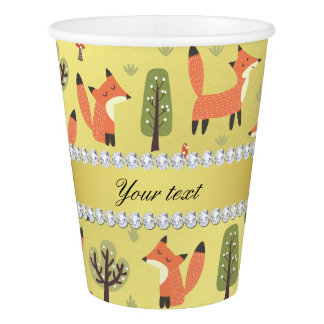 Cute Fox Faux Gold Foil Bling Diamonds Paper Cup