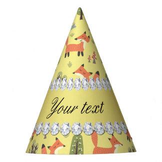 Cute Fox Faux Gold Foil Bling Diamonds Party Hat