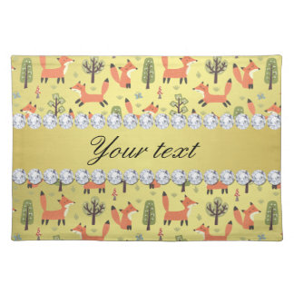 Cute Fox Faux Gold Foil Bling Diamonds Placemat