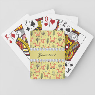 Cute Fox Faux Gold Foil Bling Diamonds Playing Cards