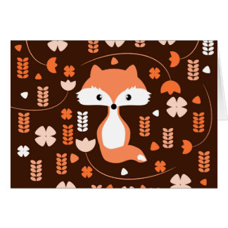 Cute fox, flowers and leaves in orange card
