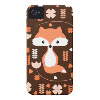 Cute fox, flowers and leaves in orange iPhone 4 cover