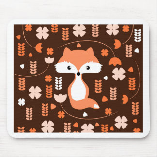 Cute fox, flowers and leaves in orange mouse pad