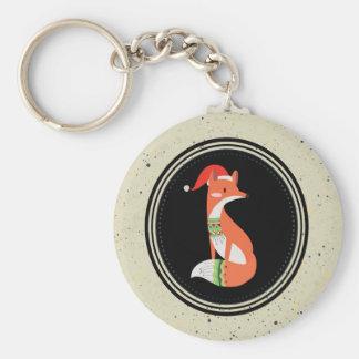 Cute Fox in Christmas Hat inside a Black Circle Key Ring