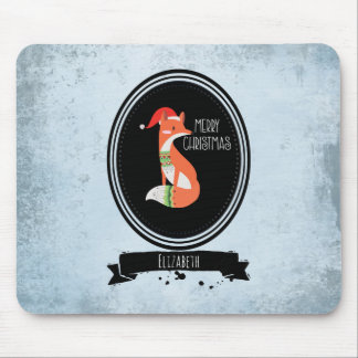Cute Fox in Christmas Hat inside a Black Oval Mouse Pad