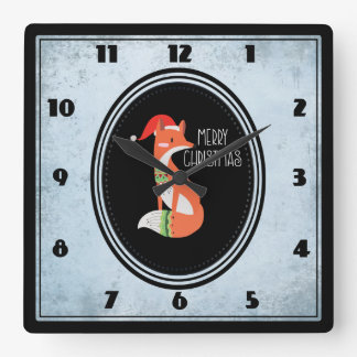 Cute Fox in Christmas Hat inside a Black Oval Square Wall Clock