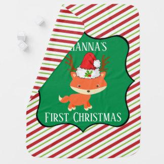 Cute Fox In Reindeer Santa Hat First Christmas Baby Blanket