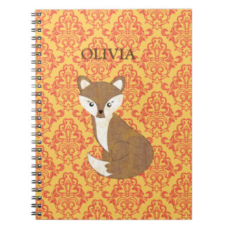 Cute Fox  on Orange Patterned Background Notebook
