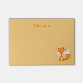 Cute fox personalize golden color post-it® notes