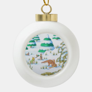 cute fox & rabbits with hats, scarves in the snow ceramic ball christmas ornament