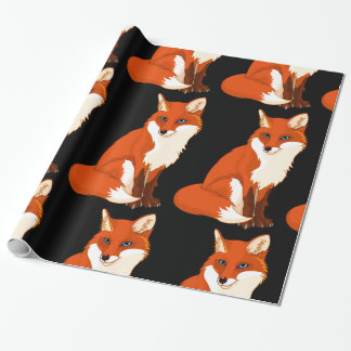 Cute Fox Sitting Glossy Wrapping Paper