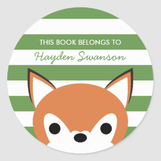 Cute Fox | This Book Belongs To Classic Round Sticker