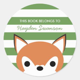 Cute Fox | This Book Belongs To Round Sticker