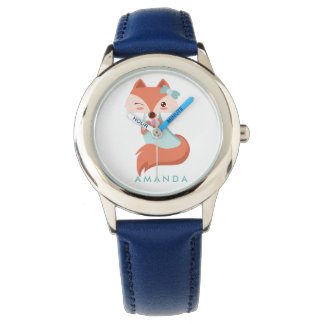 Cute FOX WITH BLUE BOW AND MIRROR Personalized Watch